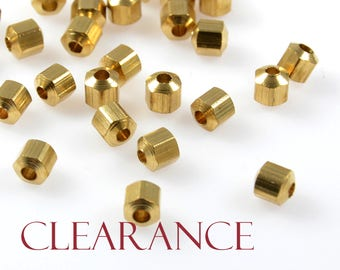 CLEARANCE - Hexagon Bead, 4mm, Hexagon Faceted Spacer, Solid Brass, 1.5mm Hole, Raw Brass, RETAIL - 100 PCS/ order