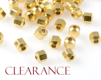 CLEARANCE - Faceted Hexagon Spacer, 4mm, Hexagon Bead, Tarnish Resist, 22K Gold Plating, Lead Free, Solid Brass, 1.5mm Hole, 100PCS/oder