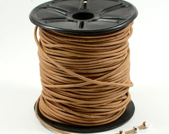 Natural Light Brown Leather Cord, 2mm, Genuine Leather Cord, Round Leather Cord, Lead Free Leather Cord