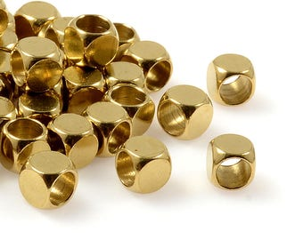 Round Cube Beads, 5mm, Solid Brass Beads, Brass Spacer Beads, Metal Beads, Large Hole Beads, 4mm