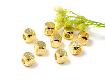 Brushed Beads, 4mm, Round Cube Beads, Tarnish Resistant, Gold Beads, Lead Free, Large Hole Beads, 2.5mm, RETAIL-25 PCS/order