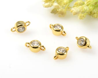Round Cubic Connectors, 3mm Cubic Zirconia Connector Pendant, Round CZ Connector, Tarnish Resistant Gold Plating Cubic Zirconia Connectors