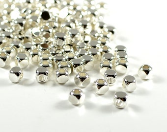 Round Cube Beads, 4mm, Tarnish Resistant Silver Plating, Lead Free, Solid Brass Beads, Large Hole Beads, 2.6mm
