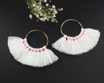 Cotton Tassels, White Color Multi Tassels in Fan Shape, 2 1/4 x 3 Inch, Tassels for Jewelry Making, Tassel Earrings, Tassel Necklaces