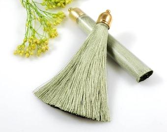 Silk Tassel, Olive Green Tassel, Long Silk Tassel, 75mm Long, Tassels for Jewelry Making, Tassel Earrings, tassel Necklaces/ 2PCS