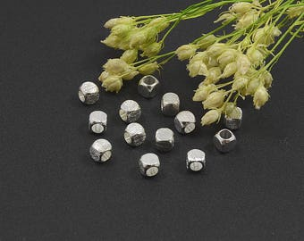Brushed Silver Cube, 3mm, Rounded Brush Bead, Solid Brass Bead, Tarnish Resist, Silver Plating, Lead Free, 1.7mm Hole