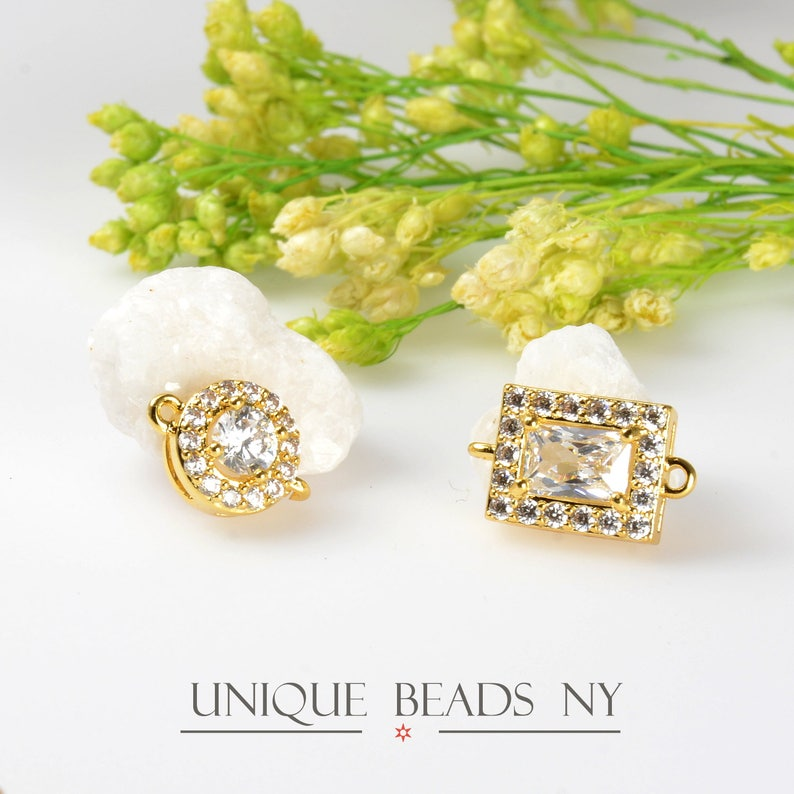 8mm Round Gold CZ Studded Jewelry Connector with 1.5mm Rings