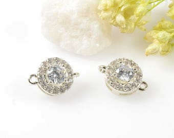 Round CZ Connectors, Round Connector, Cubic Zirconia Charm, Tarnish Resistant Silver Plating, Round Cubic Zirconia Connectors, CZ Pendant