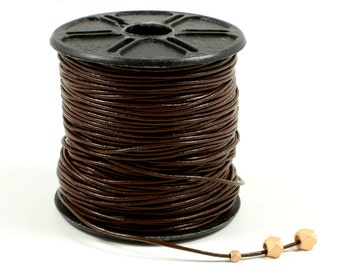 Brown Leather Cord, 0.5mm, Lead Free, Genuine Leather Cord, Round Leather Cord, RETAIL - 1 YARD/order