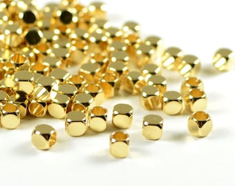 Rounded Cube, 3mm, Corner Less Square , Solid Brass Beads, Tarnish Resist, Gold Plating, Lead Free, 1.7mm Hole