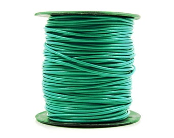 Green Turquoise Leather Cord, Lead Free, 2mm, Genuine Leather Cord, Round Leather Cord