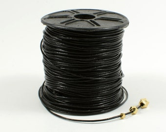 Lead Free Leather Cord, 0.5mm, Genuine Leather Cord, Round Leather Cord, Black Leather Cord, RETAIL - 1 YARD/ order