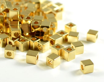 Gold Spacer Beads, 4mm, Tarnish Resistant Beads, 22K Gold Plating, Solid Brass Beads, Large Hole Beads, 2mm Hole, RETAIL - 25 pcs/ pkg