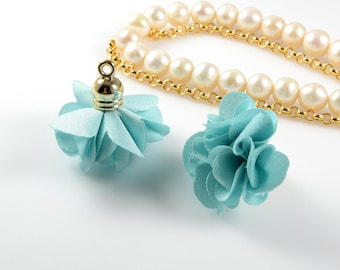Silk Flower Tassel/ Fabric Flower Charm in Light Blue Color 3cm (1-1/4 inch) Long with Cap for Jewelry Making