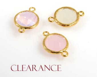 SALE! Round Bezel Connector, 17 x 12mm, Faceted Charm, Framed Glass Connector, Tarnish Resistant Gold Plating, 2 PCS/ order