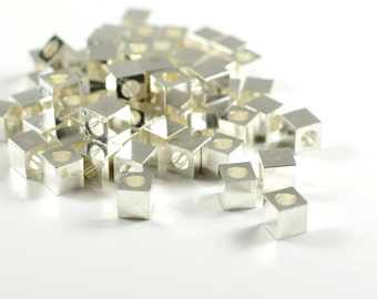 Smooth Edge Cube, 5mm, Square Bead, Tarnish Resist Silver Plating, Lead Free, Solid Brass Bead, 2.9mm Hole, RETAIL - 25 PCS/ order