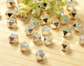 Diamond Cut Beads, 4mm, Tarnish Resistant, Silver Beads, Lead Free, Large Hole Beads, 2mm, Solid Brass Beads