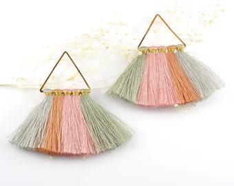 Cotton Tassels, Triangle Multi Tassel in Pastel Mix, 2 x 2 Inch, Multi Tassels for Jewelry Making, Tassel Earrings, Tassel Necklaces