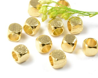 Brushed Gold Beads, 5mm, Round Cube Beads, Tarnish Resistant, Gold Beads, Brass Bead, Large Hole Beads, 4mm