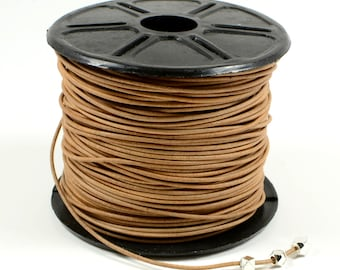 Natural Light Brown Leather Cord, 1mm,Genuine Leather Cord, Round Leather Cord, Lead Free Leather Cord, RETAIL - 1 YARD/order