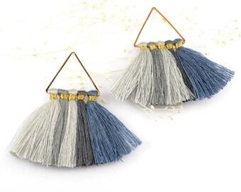 Cotton Tassels, Triangle Multi Tassel in Blue-Gray Mix, 2 x 2 Inch, Multi Tassels for Jewelry Making, Tassel Earrings, Tassel Necklaces