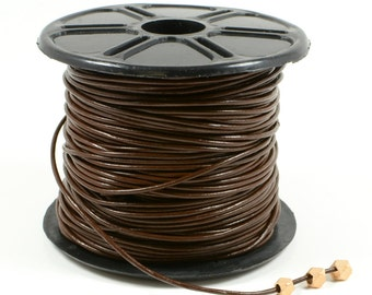 Brown Leather Cord, 1mm, Genuine Leather Cord, Lead Free, Round Leather Cord, RETAIL - 1 YARD/order