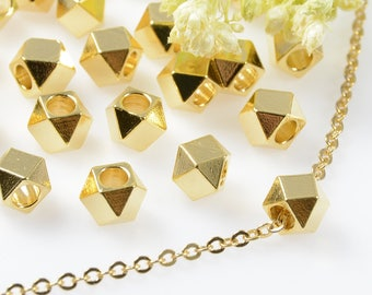 5mm, Diamond Cut Beads, Tarnish Resistant, Gold Beads, Lead Free, Solid Brass Beads, Large Hole Beads, 2.6mm