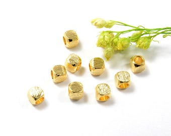 Brushed Cube Spacer Beads, 3mm, Rounded Silver Bead, Tarnish Resist Gold, Lead Free, 2.2mm Hole