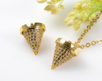 Cubic Zirconia Cone Pendant, 10mm CZ Spike Pendant, Clear CZ Spike Charm, Tarnish Resistant Gold Plating Cubic Zirconia Pendants