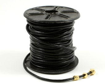 Black Leather Cord, 2mm, Genuine Leather Cord, Lead Free, Round Leather Cord, Fine Leather Cord
