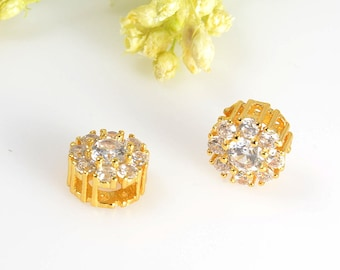 7mm Cubic Zirconia Charm, Round CZ Pendant, Tarnish Resist Gold Plating, Circle Slide Charm, Gold Slide Pendant, RETAIL-2 PCS/ order