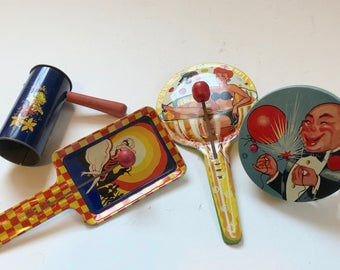 Four 40's and 50's Tin And Wood Noisemakers