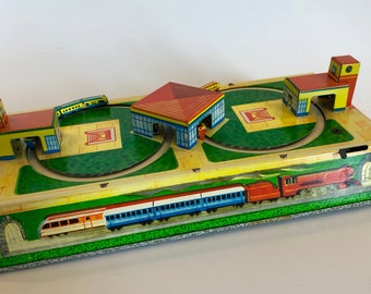 Russian all Tin Train Station Wind Up