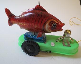 Vintage Tin Litho Fish Pull Toy
