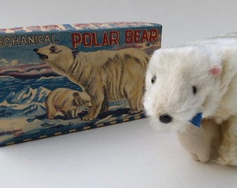 Vintage Wind Up Japanese Polar Bear with Baby