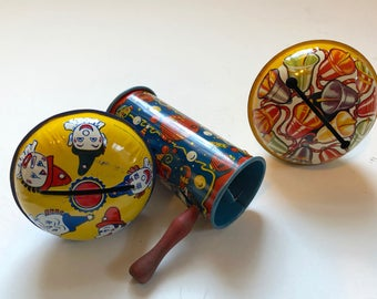 Three Tin Litho Noisemakers From The 50's