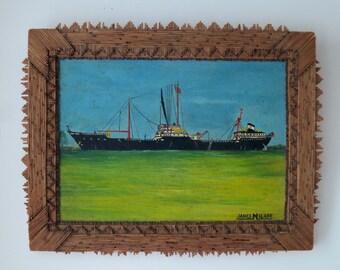 Folk art ship painting