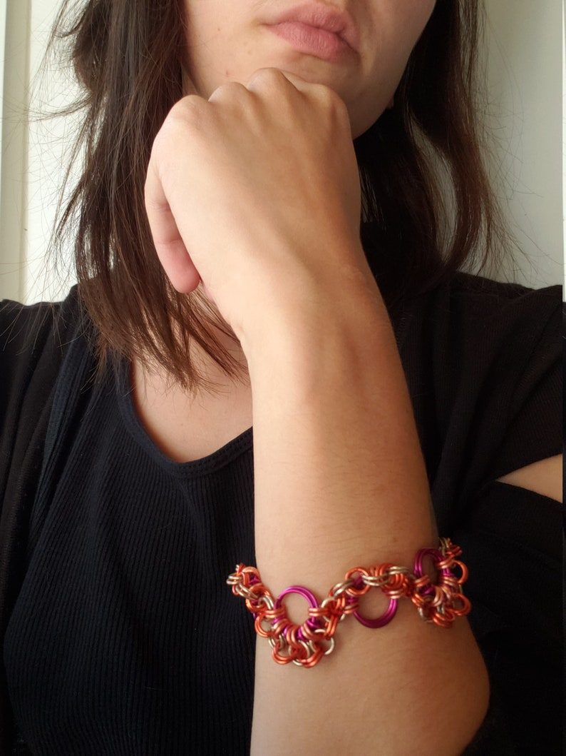 Ready to ship gender neutral Unisex Orange and Purple with Sterling Silver Chainmaille Bracelet