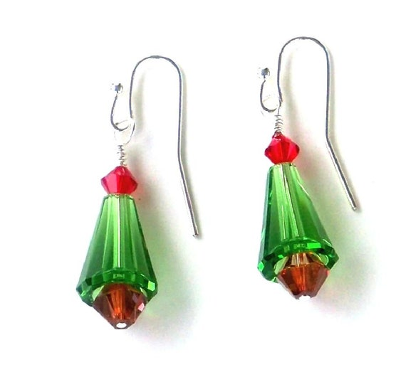 Christmas Tree Earrings Made With Swarovski Crystals Holiday Jewelry
