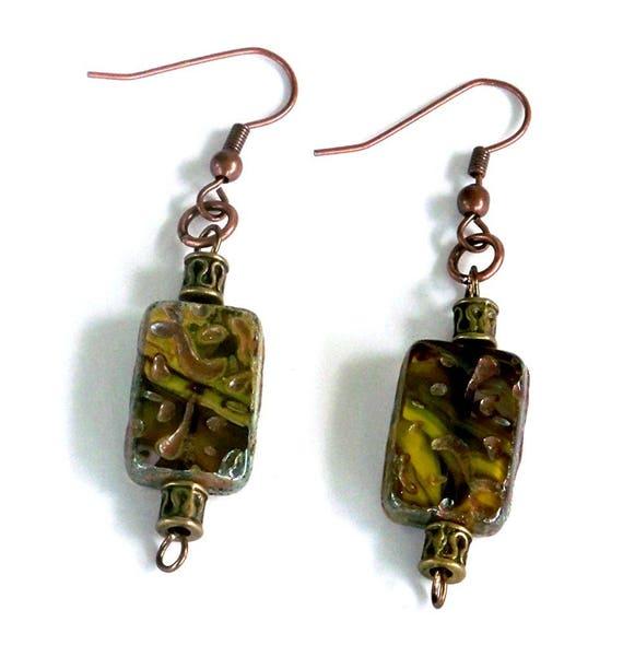 Colorful Boho Chic Earrings Unique Dangle Earrings Czech Glass Bead Earrings Geometric Dangle Earrings