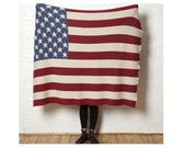 Eco Vintage Style American Flag Throw- In2Green Luxury Blanket, Recycled Cotton Blend, Knit in the USA
