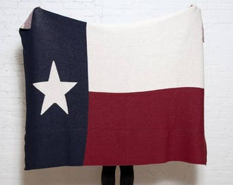 Eco Texas Flag Throw- In2green Luxury Blanket, Recycled Cotton Blend, Knit in the USA, Flag Design