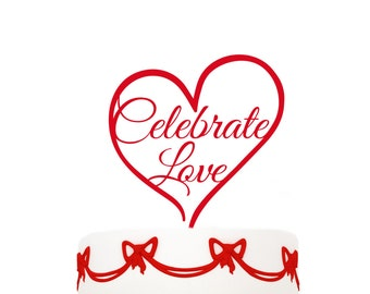 wedding cake toppers Celebrate Love, other colors also possible, custom made cake topper