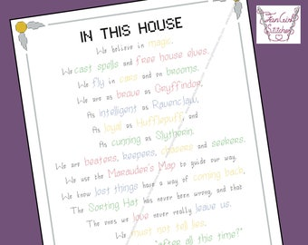 In This House. Harry Potter themed Cross Stitch - PDF pattern - INSTANT DOWNLOAD