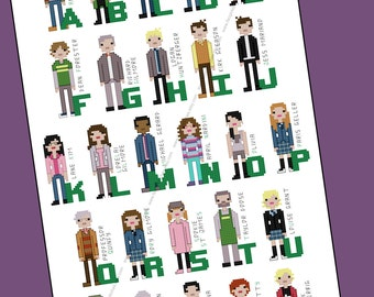Gilmore Girls themed alphabet cross stitch - PDF Pattern - INSTANT DOWNLOAD