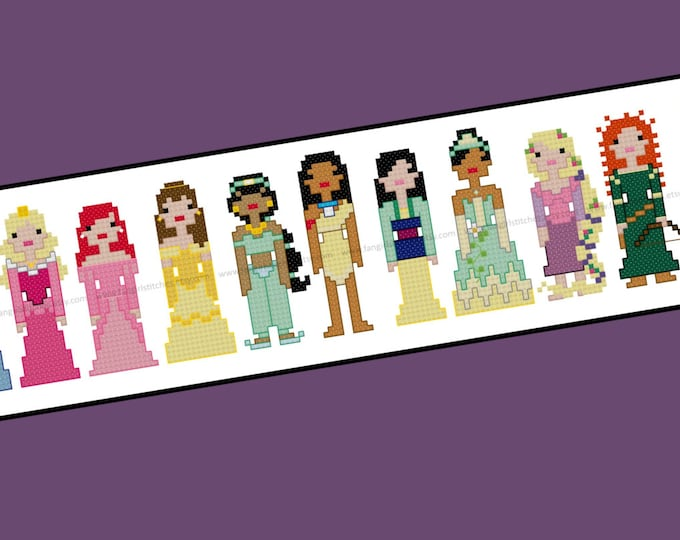 Disney Inspired Princess Cross Stitch Pattern - PDF Pattern - INSTANT DOWNLOAD