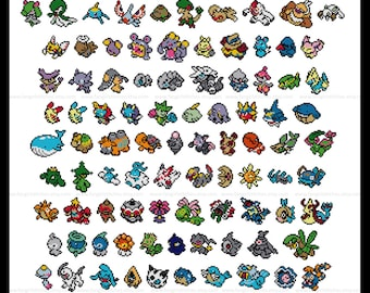 Pokemon parody Generation III (third, 3rd) cross stitch pattern featuring 141 pokemon - PDF Pattern