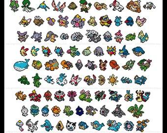Pokemon parody Generation III (third, 3rd) cross stitch pattern featuring 141 pokemon - PDF Pattern