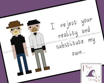 MythBusters Inspired Characters and Quote cross stitch pattern - PDF pattern - INSTANT Download