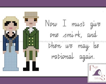Jane Austen's Northanger Abbey Characters and Quote cross stitch pattern - PDF pattern - INSTANT Download